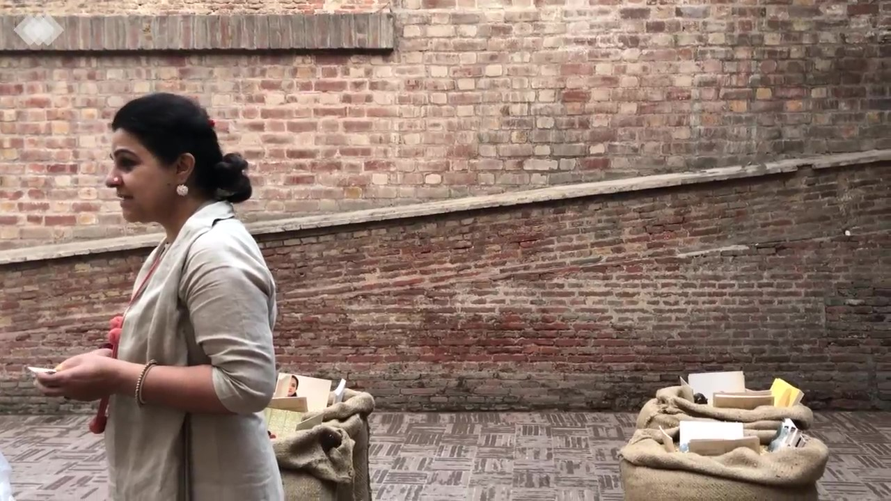 Manisha speaking about project at Shahi Hamam Lahore Biennale 2018 March